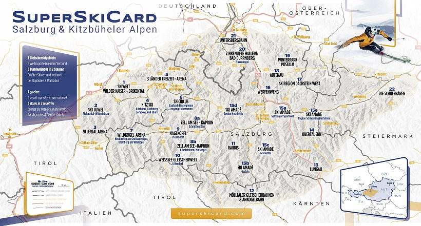 Ski pass Super Ski Card - map of 23 ski regions in Austria
